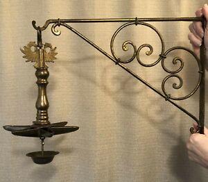 Antique 1890s Brass Hanging Shabbat/Sabbath OIL LAMP +Bracket Judenstern Judaica