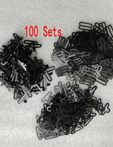 100 Sets Black Bow Tie Clip Hardware Cravat Clips Hook Fastener For Necktie Stra