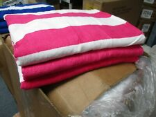 ONE Large Beach Resort Pool Towels in Cabana Stripe PINK 30 x 60 100% COTTON NEW
