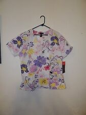 SCRUB TOP MOCK WRAP SIZE XL-WHITE WITH PINK, PURPLE, YELLOW AND BLACK FLOWER