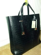 River Island Black Croc Embossed Leather Tote Bag, Height 38cm, width 45cm