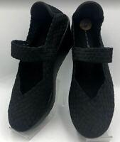 Steven By Steve Madden Women's Black Woven Wedge Heel Mary Janes Shoes Size 8