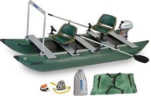 Sea Eagle Green 375fc Inflatable Fold Cat Fishing Boat w/ Motor