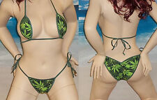 Pot leaf print Scrunch butt Bikini w/adj. Micro Teardrop Top made in USA  S/M
