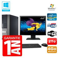 PC Dell 7010 SFF Intel I3-2120 RAM 4GB Disco 2To DVD Wifi W7 Pantalla 22""
