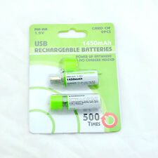 2 Pcs * Ni-MH AA Rechargeable USB Battery 1.2V 1450mAh Rechargeable Batteries