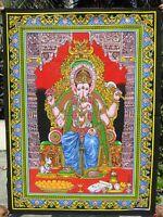 Ganesh Tenture indienne Batik Ganesha Yoga Hippie Boho Fait main Inde Paillettes