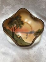 Nippon Antique Hand Painted Crimped edge Bowl Sail Boats Sunset Moriage Edge