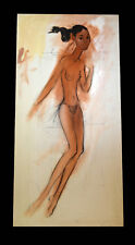 "48"" Original Henry Porter Young Nude Woman Pose Black Americana Wall Painting"