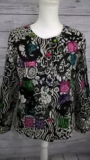 CHOICES Tapestry Jacket Long Sleeve Colorful Rhinestone Embroidered Lined Medium