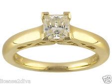Sterling Silver Princess Cut Moissanite Fire® Wedding Ring Charles Winston 14Kp