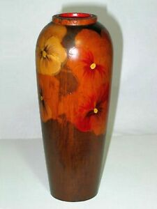 Tall Pokerwork Vase, Pansies, Original Metal Liner