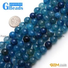 "10mm Blue Dragon Veins Agate Faceted Round Beads For Jewelry Making 15"" GBeads"