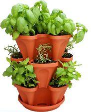 Mr. Stacky Self Watering 3 Tier Stackable Garden Vertical Plastic Planter Set,