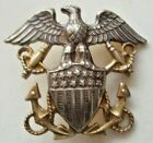 Vintage+Gilded+Possibly+Silver+Lapel+Pin+No+Back+Military+Navy+Eagle+Anchors+1%22