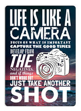 WTF | Life is like a camera | Metal Wall Sign Plaque Art. Inspirational Quote