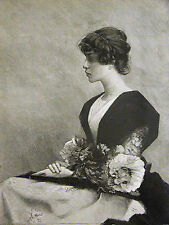 Alf Agache BEAUTIFUL GIRL w PEONIES & BUTTERFIES 1890 Antique Engraving Matted