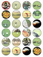 X24 GOLF CLUB BALL AND COURSE CUP CAKE TOPPERS DECORATIONS ON EDIBLE RICE PAPER