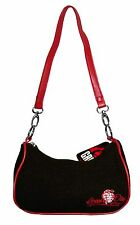 GREEN DAY BLACK TWEED EMBROIDERED HEART GRENADE HAND BAG PURSE NEW OFFICIAL