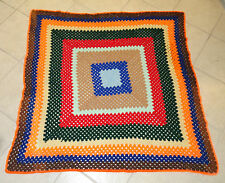 """Vintage Hand made Crochet Granny Square 60""""x60  Bed Couch  Throw Blanket Afghan"""