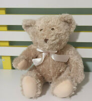 BABY BABY TEDDY BEAR BROWN WITH PINK BOW 24CM