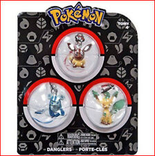 3 PACK - Tomy Pokemon Danglers Figure Strap Eevee, Leafeon and Glaceon  🌟New🌟