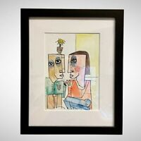 PAINTING INK/WATERCOLOR ON CANSON (FRAME INCLUDED) CUBAN ART by LISA.