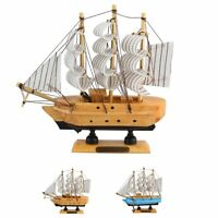 """New 6"""" Wooden Ship Yacht Model Nautical Sail Boat Craft Home Decor Ornament Gift"""