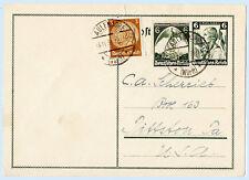 Germany 1935 Aulendore Uprated Postal Stationery Card to USA 416 465 H&G 238
