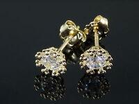 585 Gold Ohrstecker  1 Paar 6 mm mit Zirkonia Steinen , mit 8 Krappen