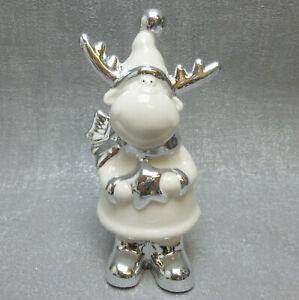Formano Deko Elch mit Stern Mütze Schal weiß silber edel modern Weihnachten