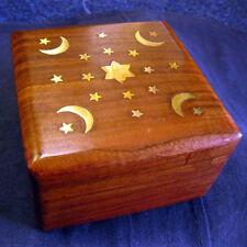 "WOODEN TRINKET JEWELLERY BOX Storage Moon & Stars HAND CARVED DECORATIVE 4""x 4"""