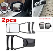 Pair Adjustable Clip On Towing Mirror Car Pickup Caravan Universal Left & Right