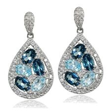 Sterling Silver London Blue, Blue & White Topaz Teardrop Cluster Tonal Earrings