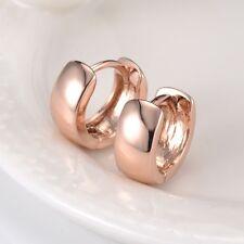18k Rose Gold Filled Smooth Earrings 13MM Hoop Huggie GF Lady Jewelry