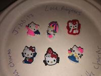 Hello Kitty Lot Of 6 Crocs Shoe,Bracelet,Lace Adapter Charms,Jibbitz 4 All 👞 Sz
