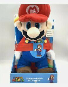 "Nintendo Super Mario 40""x50"" Soft Throw Blanket and Pillow Plush Figure Set"