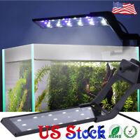 Aquarium Light Clip on Fish Tank Extendable Bracket 15LEDs Blue White 30-45cm