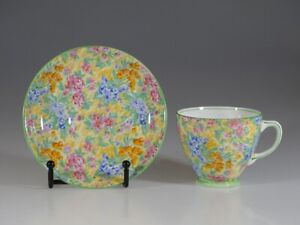 Sampson Smith Old Royal Floral Chintz Tea Cup and Saucer, England c. 1930s