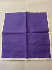 "Purple/White Cotton/ Silk Pocket Square Q Clothier $65 Retail. NWT 12.5"""
