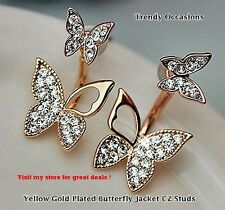 18K Yellow Gold  Double Butterfly made with Swarovski Crystal Element Studs