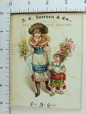 J.C Iverson & Co Fine Art Goods Lovely Young Girl & Adorable Child Flowers #E
