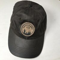 CAT RIGGS Caterpillar Equipment Leather-Like Black Hat Hunting Graphic Patch Cap