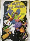 Vtg Halloween Yard Decor Sign Witch Ghost Cat 1995 Color Clings Happy Halloween