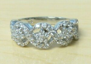 925 Sterling Silver Simulated Diamond Flower Band Ring Size 6.5