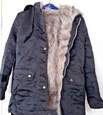 Forro de piel con capucha Negro Estilo Coreano informal Para mujeres Abrigo-Talla 6-8 Nuevo sin etiquetas