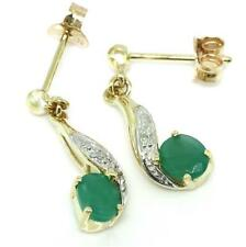 Emerald & Diamond 9ct 9K Solid Gold Stud Genuine Earrings  - Free Shipping
