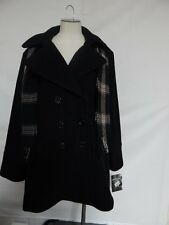 London Fog Double Breasted Button Front Wool Coat in w/ Scarf XL Black NWT