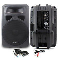 """2x Skytec 15"""" Active Karaoke Party DJ PA Speakers + Cables Disco System 1600W"""