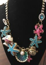 Betsey Johnson Under The Sea Lobster Fish shell Turtle starfish Necklace
